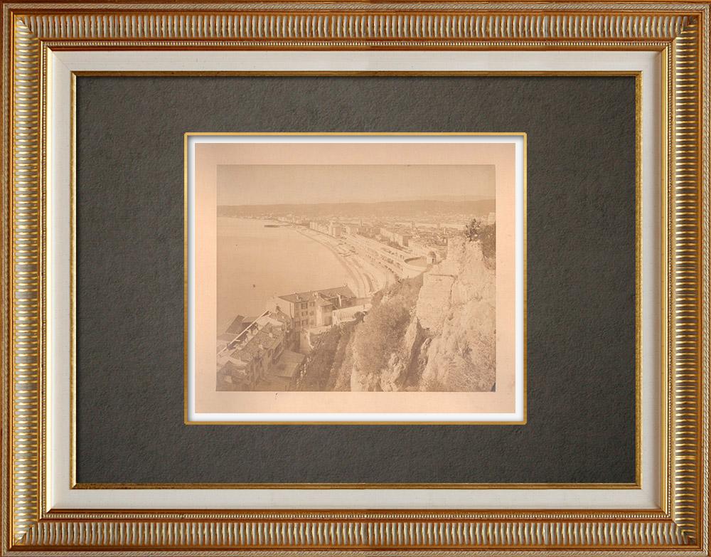 Gravures Anciennes & Dessins | Nice - Vue prise du château - Baie des Anges - Alpes-Marítimes (France) | Photographie | 1880