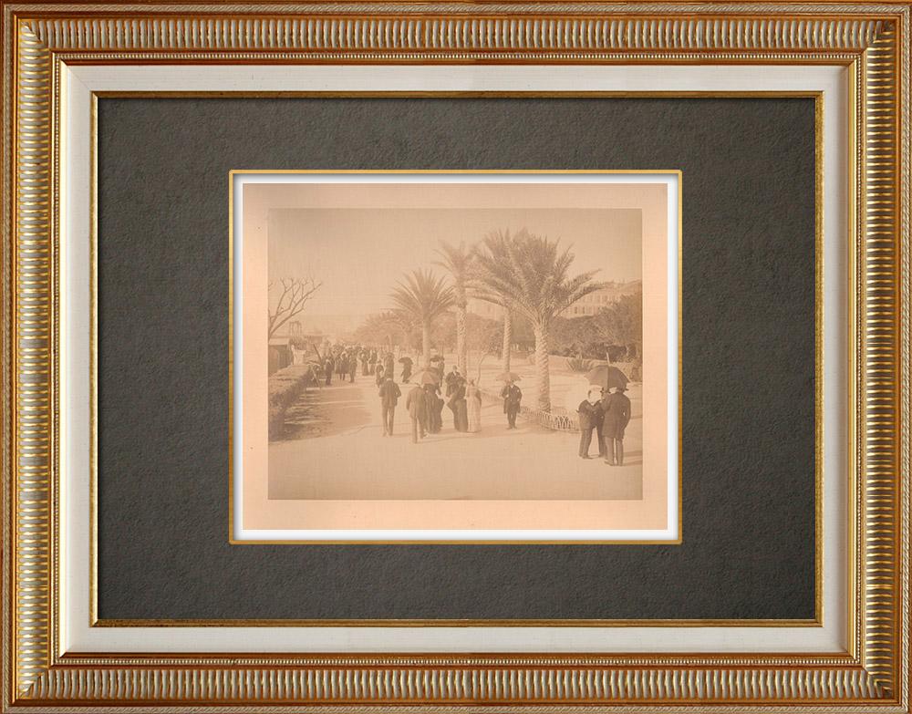 Gravures Anciennes & Dessins | Nice - Promenade des Anglais - Baie des Anges - Alpes-Marítimes (France) | Photographie | 1880