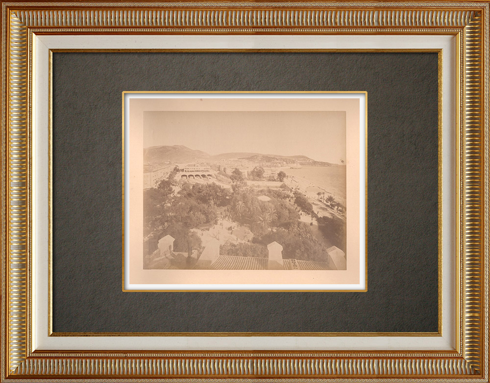 Antique Prints & Drawings | View of Nice - Urban park - Baie des Anges - Alpes-Marítimes (France) | Photography | 1880