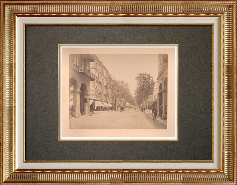 Grabados & Dibujos Antiguos | Nice - Avenue de la Gare - Place Masséna - Riviera francesa - Alpes-Marítimos (Francia) | Fotografía | 1880