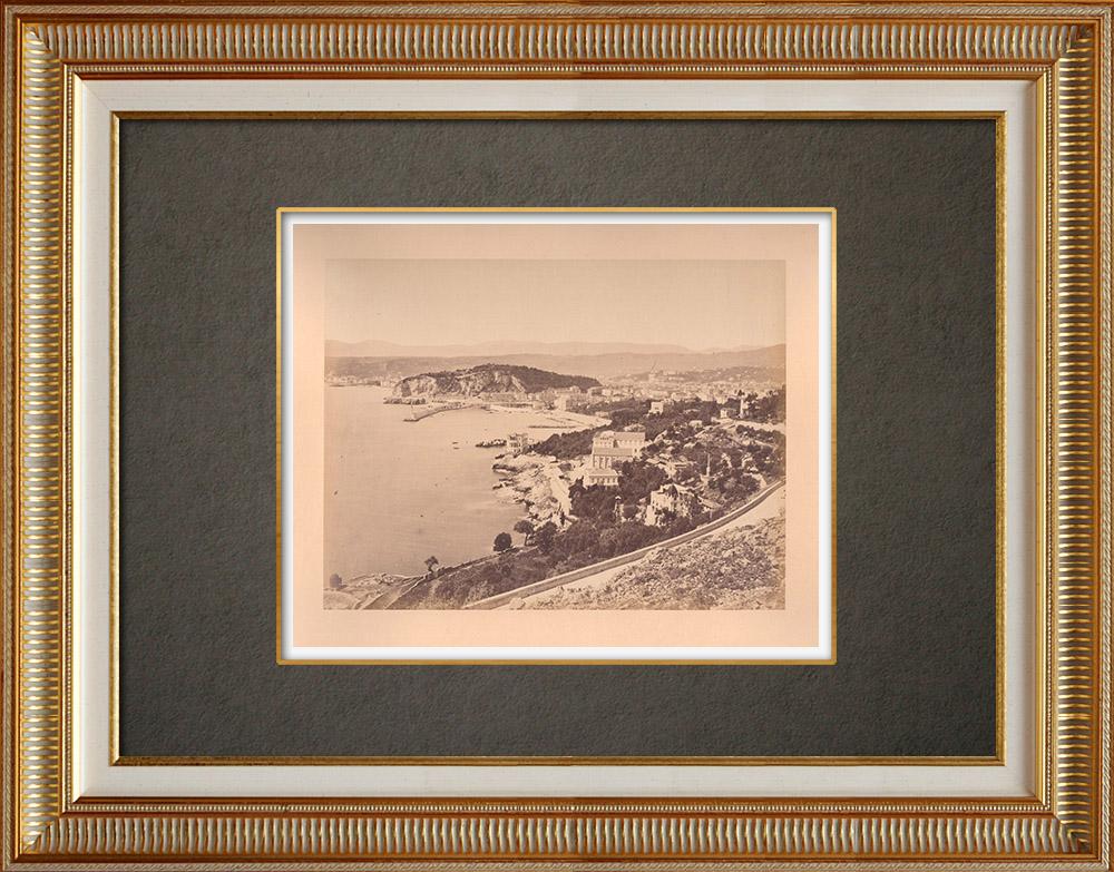 Gravures Anciennes & Dessins   Nice - Vue prise de Villefranche-sur-Mer - Côte d'Azur - Alpes-Marítimes (France)   Photographie   1880