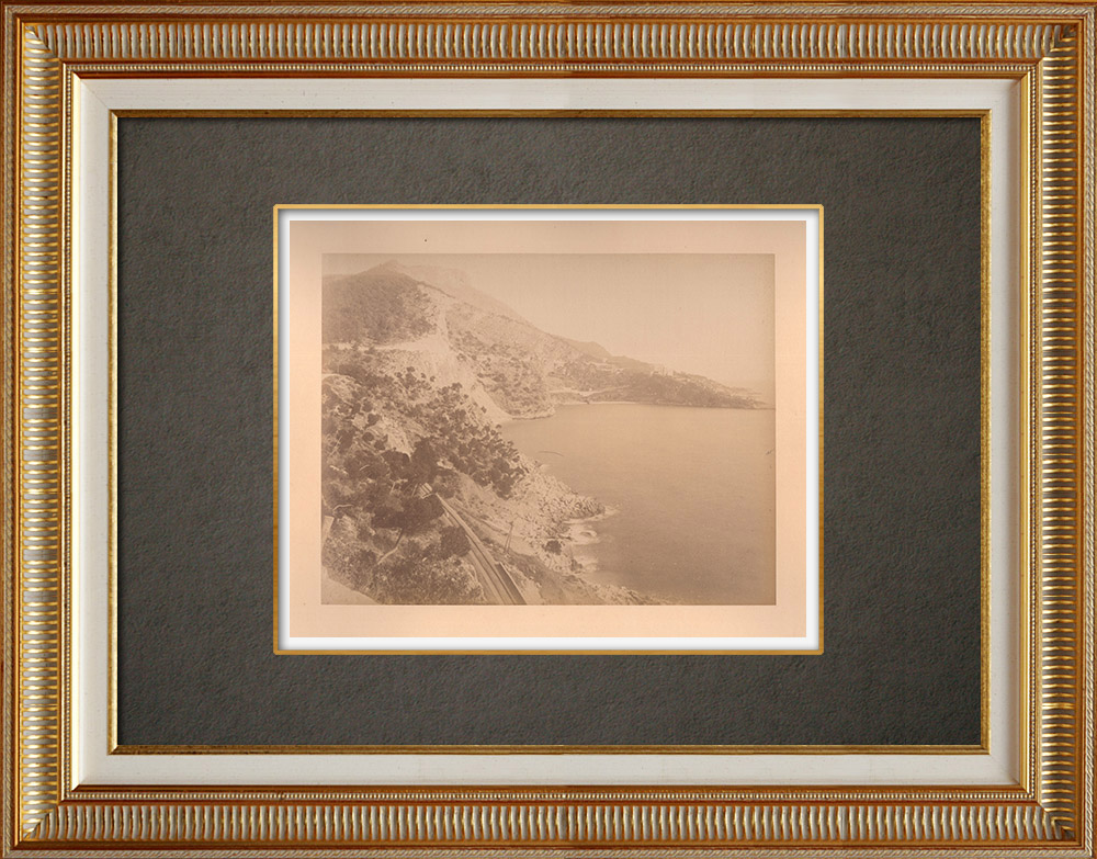 Antique Prints & Drawings | Côte d'Azur - French Riviera - Road from Nice to Monaco - Mediterranean | Photography | 1880