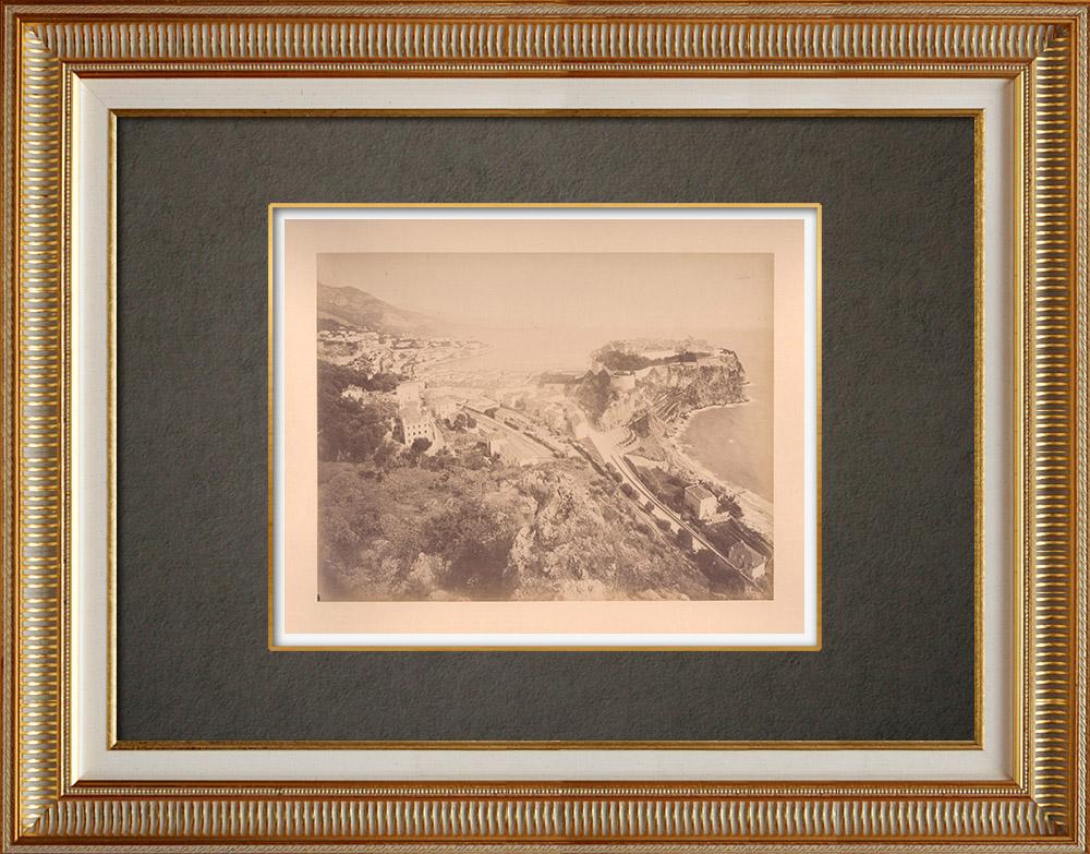 Gravures Anciennes & Dessins | Principauté de Monaco - Le Rocher - Côte d'Azur - France - Alpes-Marítimes | Photographie | 1880