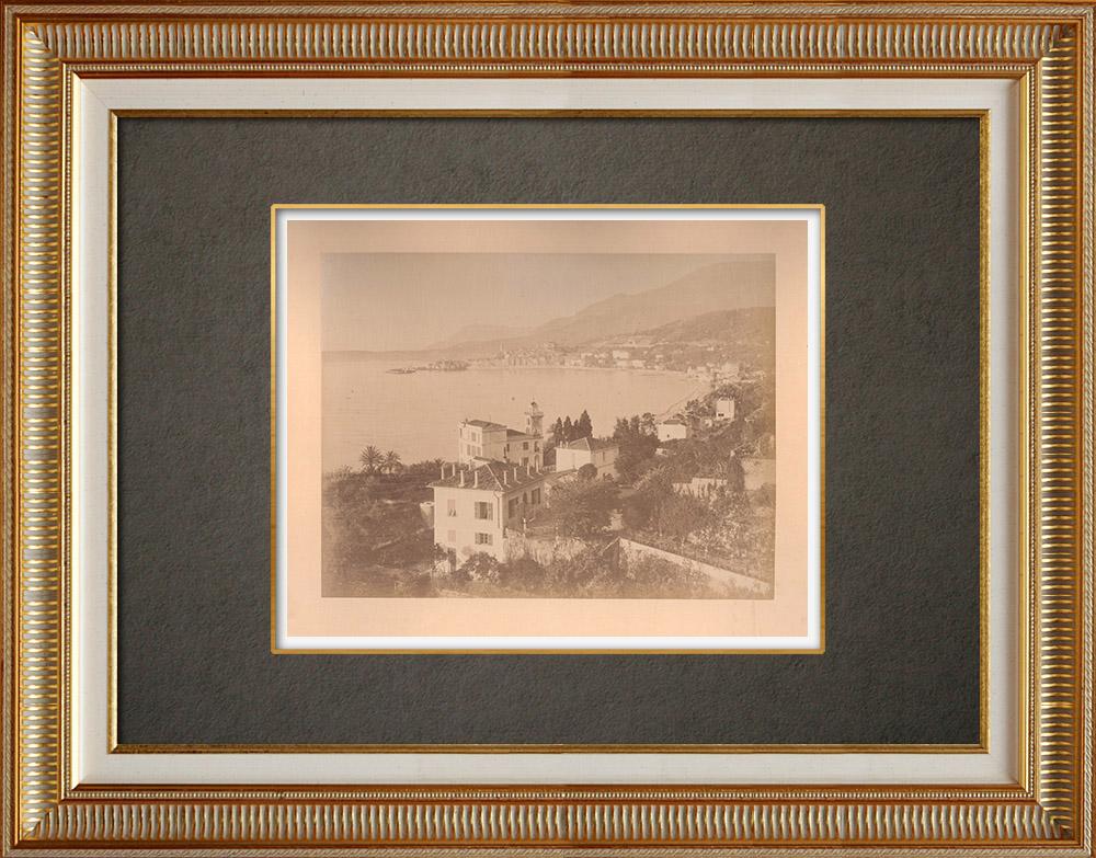 Grabados & Dibujos Antiguos | Vista de Menton - Costa Azul - Riviera francesa - Alpes-Marítimos (Francia) | Fotografía | 1880