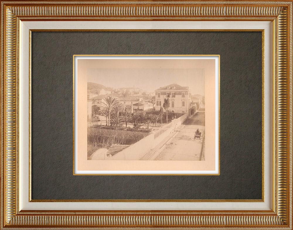 Antique Prints & Drawings   View of Bordighera - Liguria - Italian Riviera (Italy)   Photography   1880
