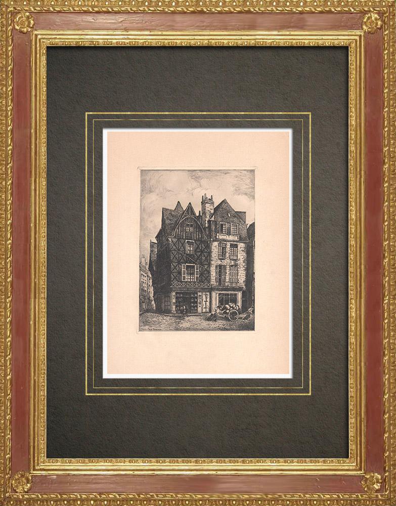 Gravures Anciennes & Dessins | Place Plumereau - Maisons à colombage à Tours - Val de Loire - Indre-et-Loire (France) | Gravure à l'eau-forte | 1942