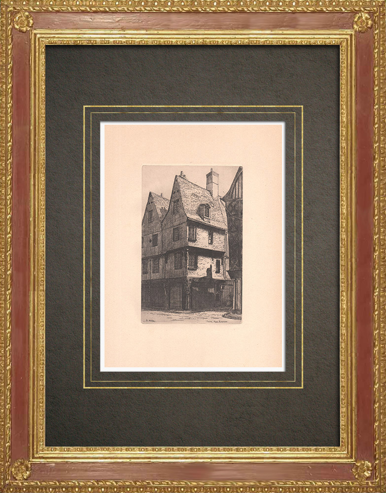 Antique Prints & Drawings | Place Plumereau- Old houss in Tours - Indre-et-Loire (France) | Strong water etching | 1942
