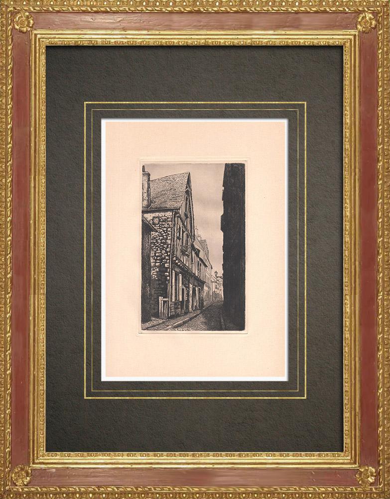 Antique Prints & Drawings | Rue de la Paix - Timber framing - Tours - Indre-et-Loire (France) | Strong water etching | 1942
