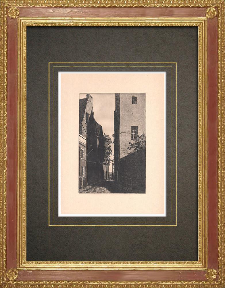 Gravures Anciennes & Dessins | Rue Manceau - Maison ancienne - Tours - Indre-et-Loire (France) | Gravure à l'eau-forte | 1942