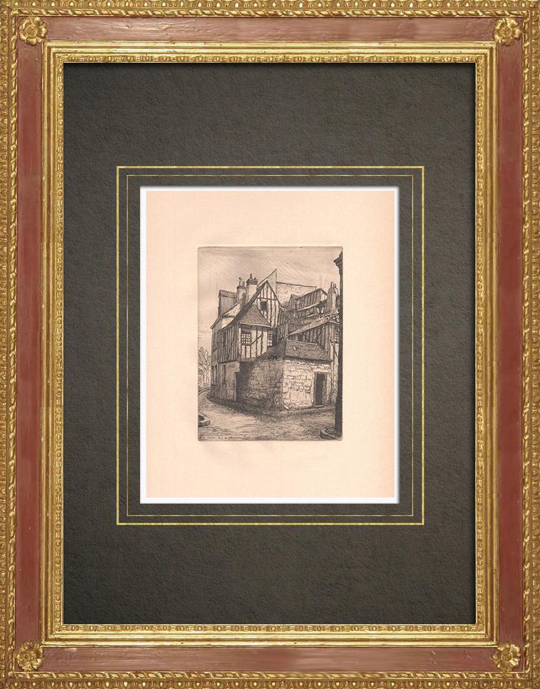 Grabados & Dibujos Antiguos | Rue Bazoche - Armadura en Tours - Indre y Loira (Francia) | Grabado al aguafuerte | 1942