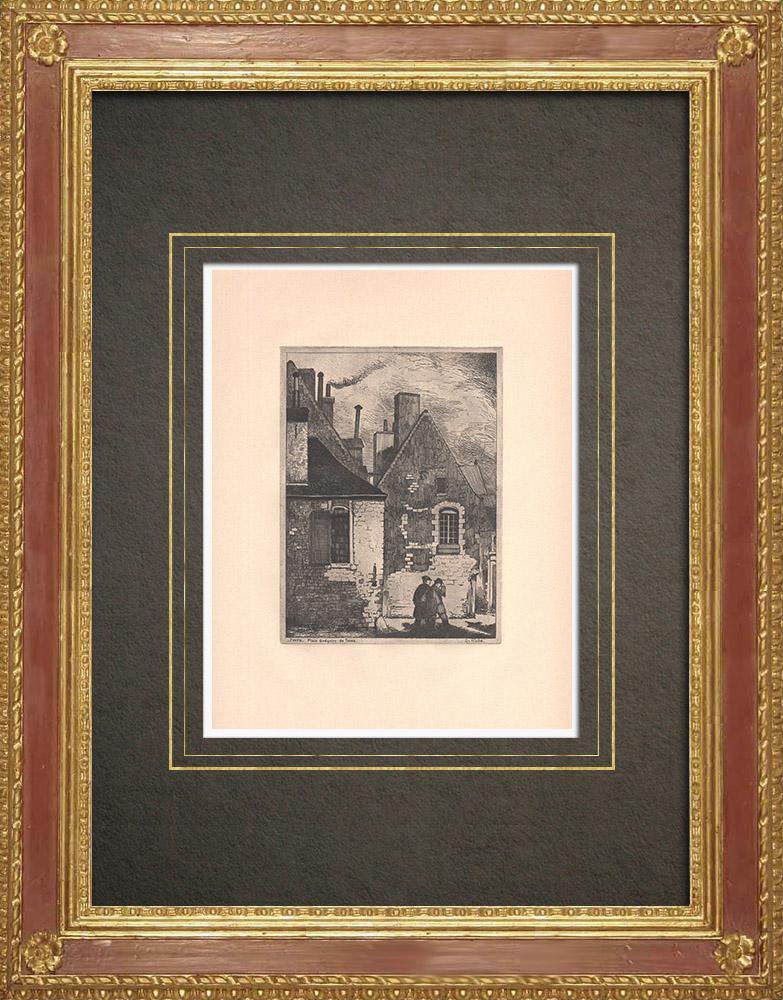 Antique Prints & Drawings   Place Grégoire-de-Tours - Old house in Tours - Indre-et-Loire (France)   Strong water etching   1942