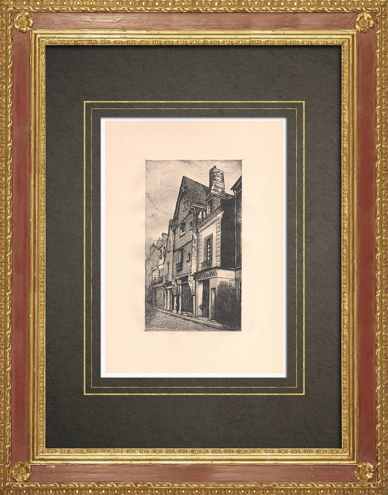 Antique Prints & Drawings   Rue Courteline - Old house - Tours - Indre-et-Loire (France)   Strong water etching   1942