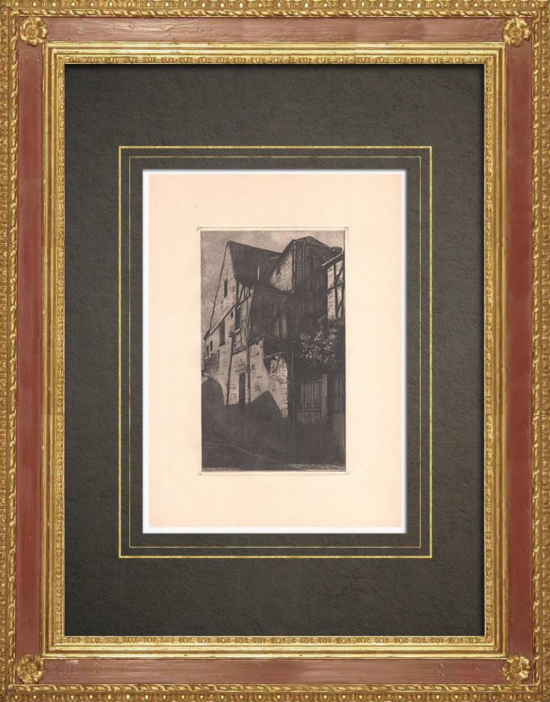 Gravures Anciennes & Dessins | Rue André Chénier - Maison ancienne à Tours - Indre-et-Loire (France) | Gravure à l'eau-forte | 1942