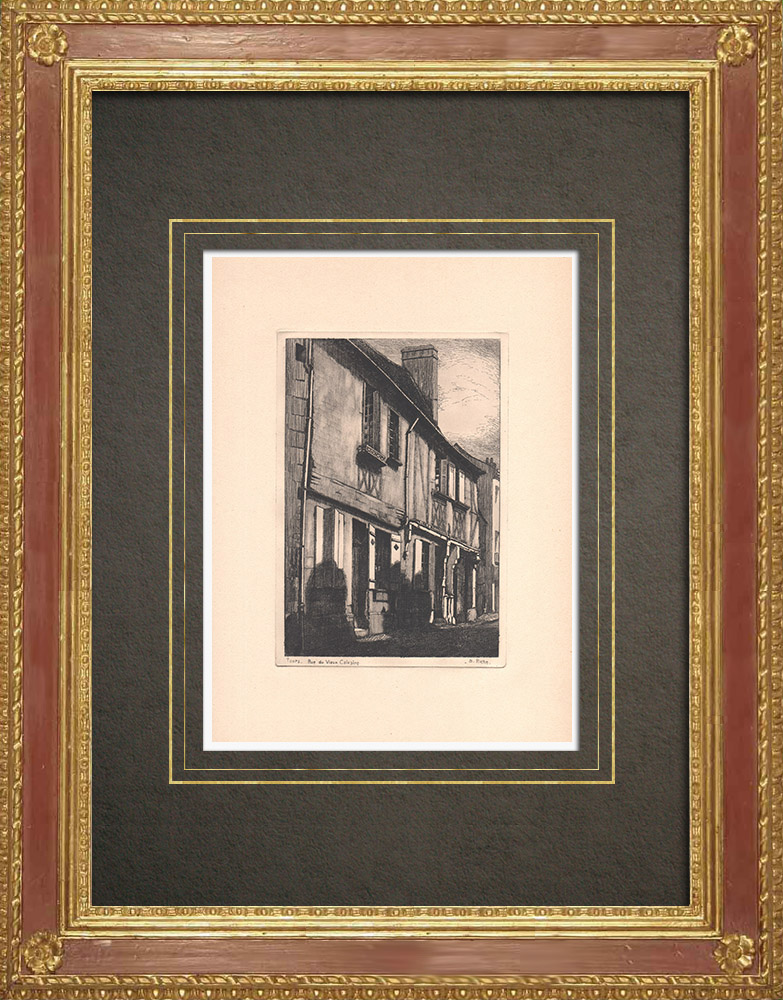 Antique Prints & Drawings | Rue du Vieux Calvaire - Timber framing in Tours - Indre-et-Loire (France) | Strong water etching | 1942