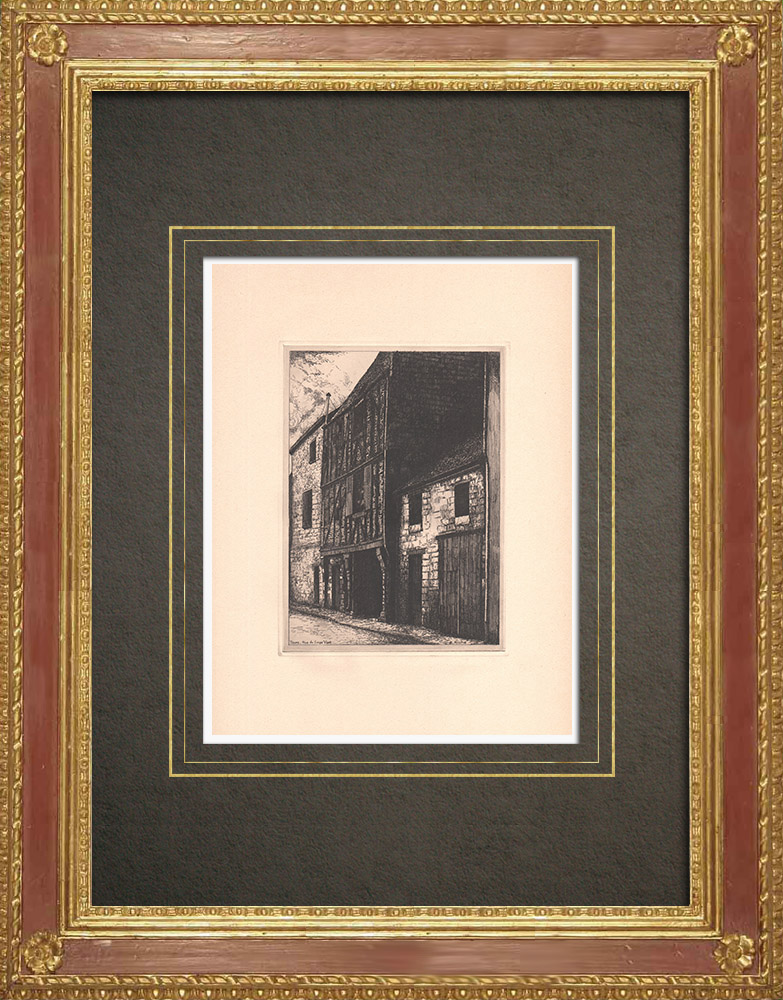 Antique Prints & Drawings   Rue du Singe vert - Timber framing in Tours - Indre-et-Loire (France)   Strong water etching   1942