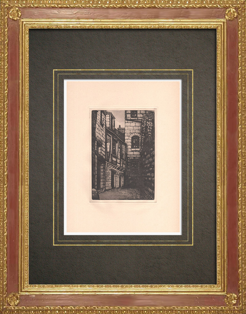 Antique Prints & Drawings | Impasse Foire-le-Roi - Tower house - Timber framing - Tours - Indre-et-Loire (France) | Strong water etching | 1942