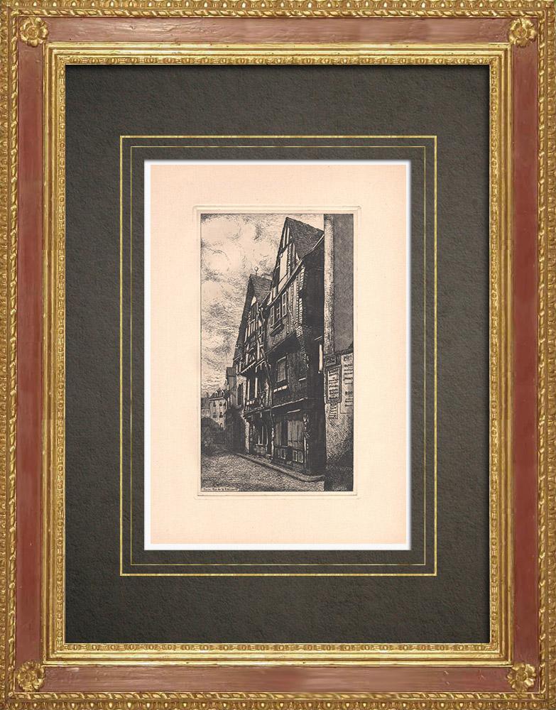 Gravures Anciennes & Dessins | Rue de la Rotisserie - Maison à colombages - Tours - Indre-et-Loire (France)  | Gravure à l'eau-forte | 1942