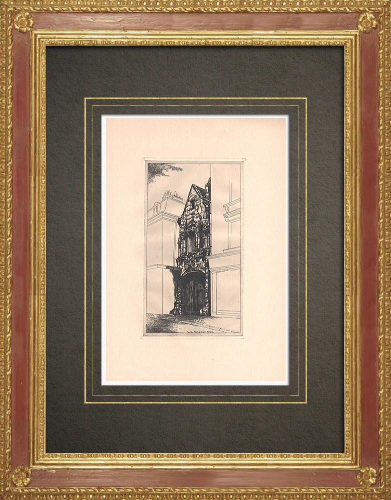 Gravures Anciennes & Dessins   Place du grand Marché à Tours - Maison à colombages - Val de Loire - Indre-et-Loire (France)   Gravure à l'eau-forte   1942