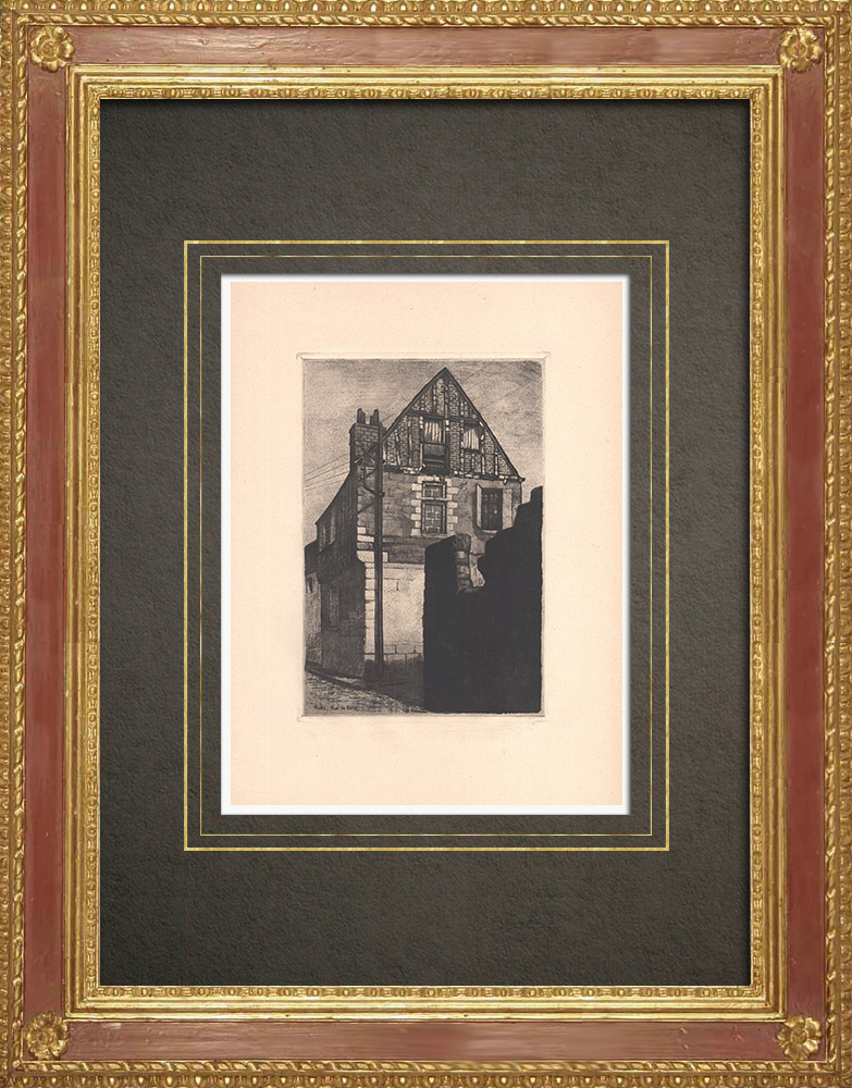 Antique Prints & Drawings | Rue de Ballan - Old house in Tours - Indre-et-Loire (France) | Strong water etching | 1942