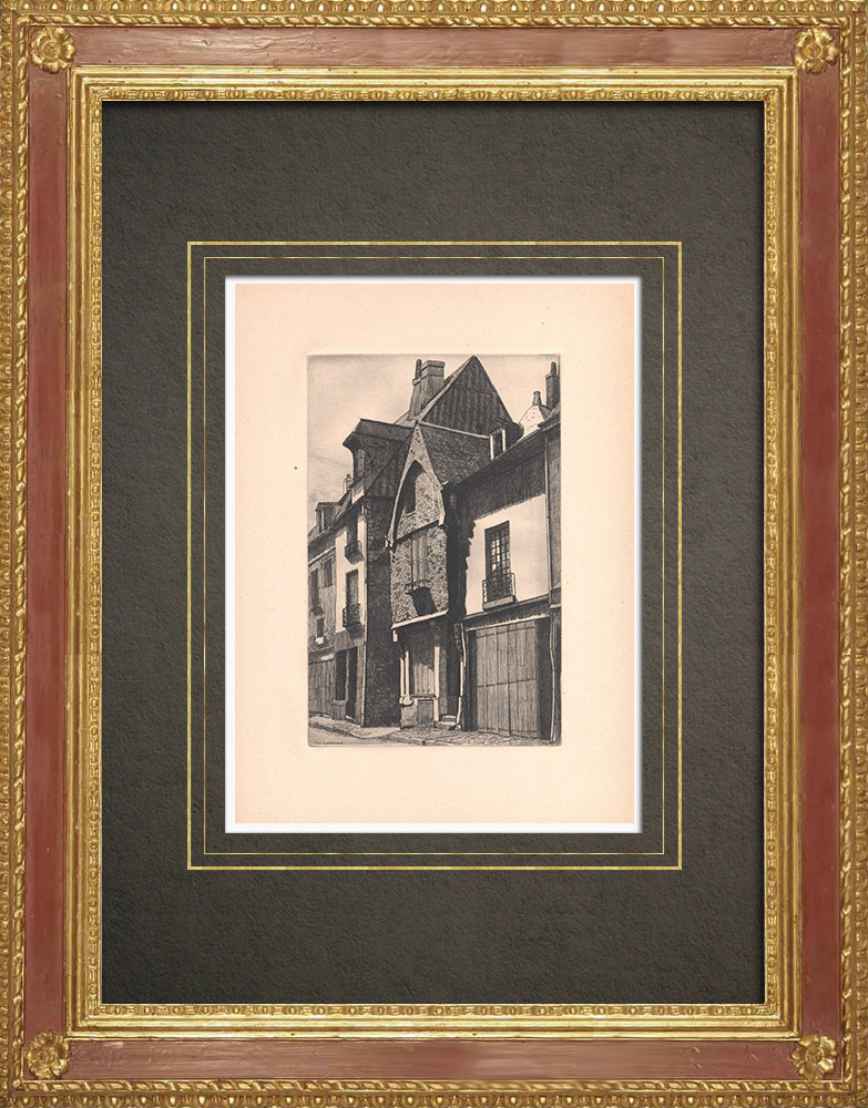 Antique Prints & Drawings   Rue Losserand - Old house in Tours - Indre-et-Loire (France)   Strong water etching   1942