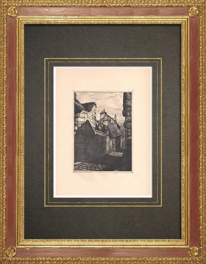 Gravures Anciennes & Dessins | Rue de la Bretonnerie - Maison ancienne à Tours - Indre-et-Loire (France) | Gravure à l'eau-forte | 1942