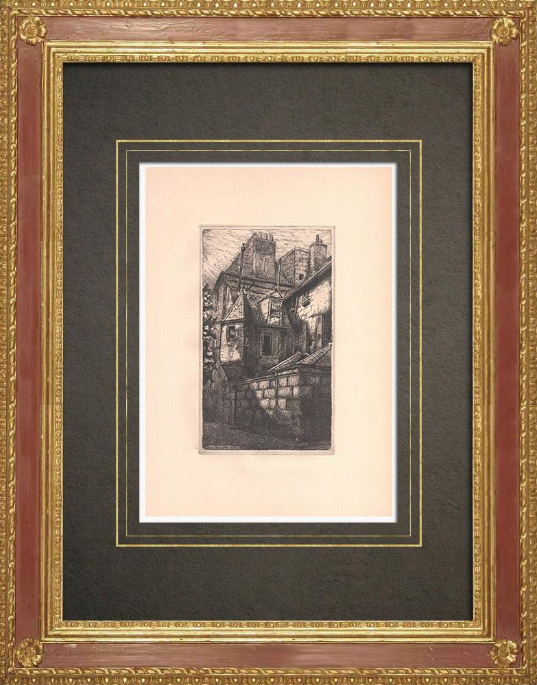 Gravures Anciennes & Dessins | Passage des Jacobins - Maison médievale à Tours - Indre-et-Loire (France) | Gravure à l'eau-forte | 1942