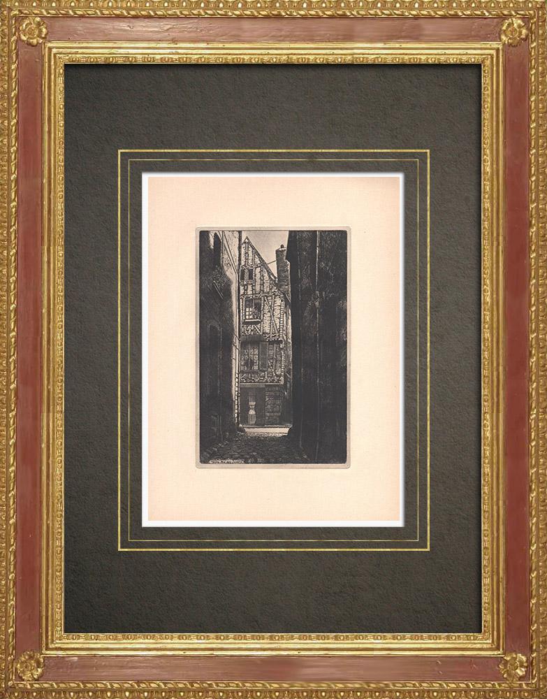 Grabados & Dibujos Antiguos | Rue des Joulins - Armadura - Tours - Indre y Loira (Francia) | Grabado al aguafuerte | 1942