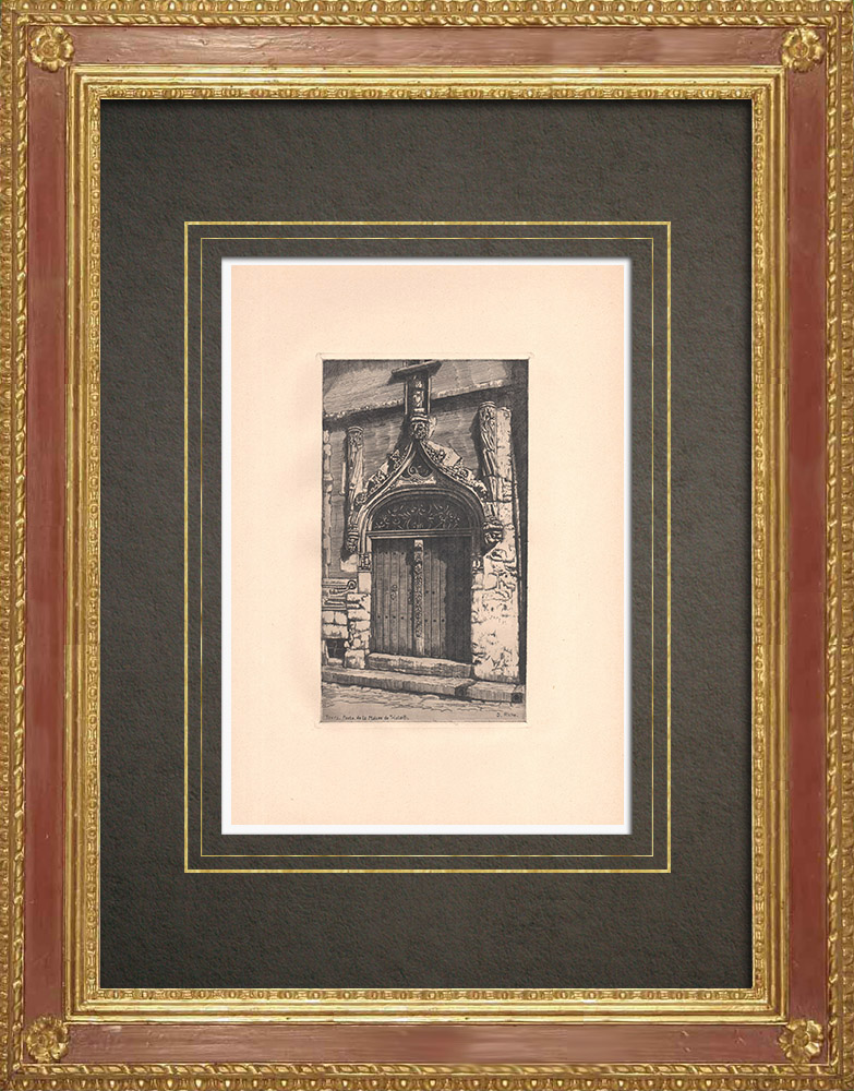 Antique Prints & Drawings   Door of the Tristan-L'Hermite House in Tours - Indre-et-Loire (France)   Strong water etching   1942