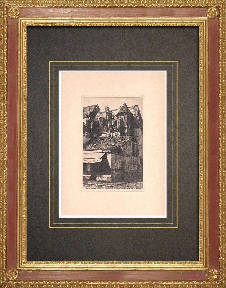 Gravures Anciennes & Dessins | Rue Bretonneau - Maison ancienne XIVème siècle à Tours - Indre-et-Loire (France) | Gravure à l'eau-forte | 1942