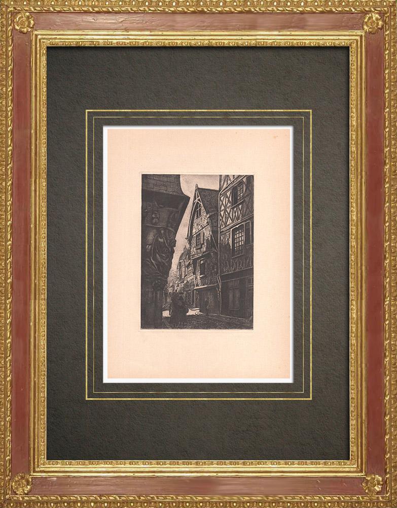 Gravures Anciennes & Dessins | Maisons anciennes à colombages dans le Vieux-Tours - Val de Loire - Indre-et-Loire (France) | Gravure à l'eau-forte | 1942