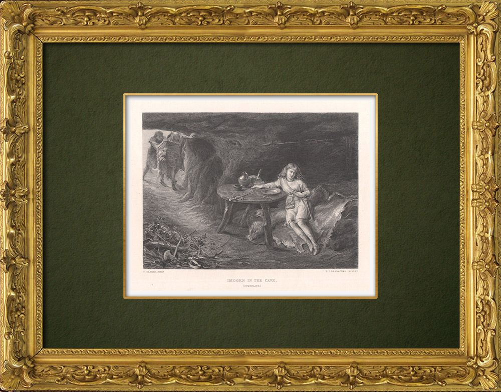 Antique Prints & Drawings | Imogen in the cave - Cymbeline (William Shakespeare) | Intaglio print | 1875