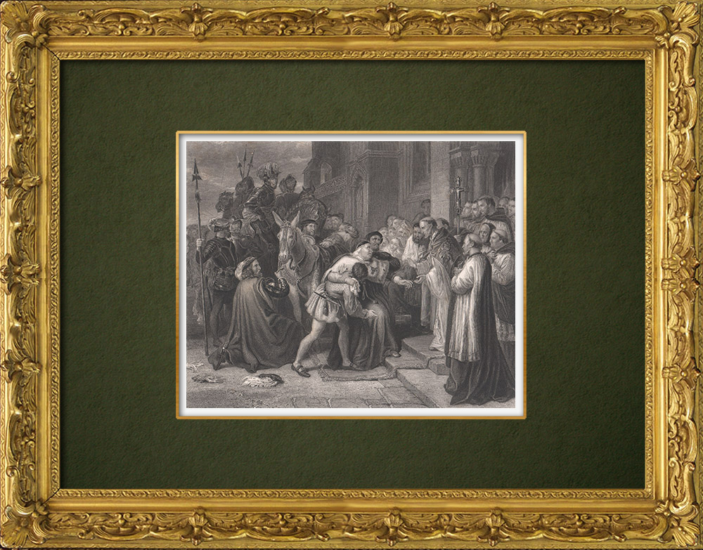 Gravures Anciennes & Dessins | Thomas Wolsey à l'abbaye de Leicester - Henri VIII (William Shakespeare) | Taille-douce | 1875