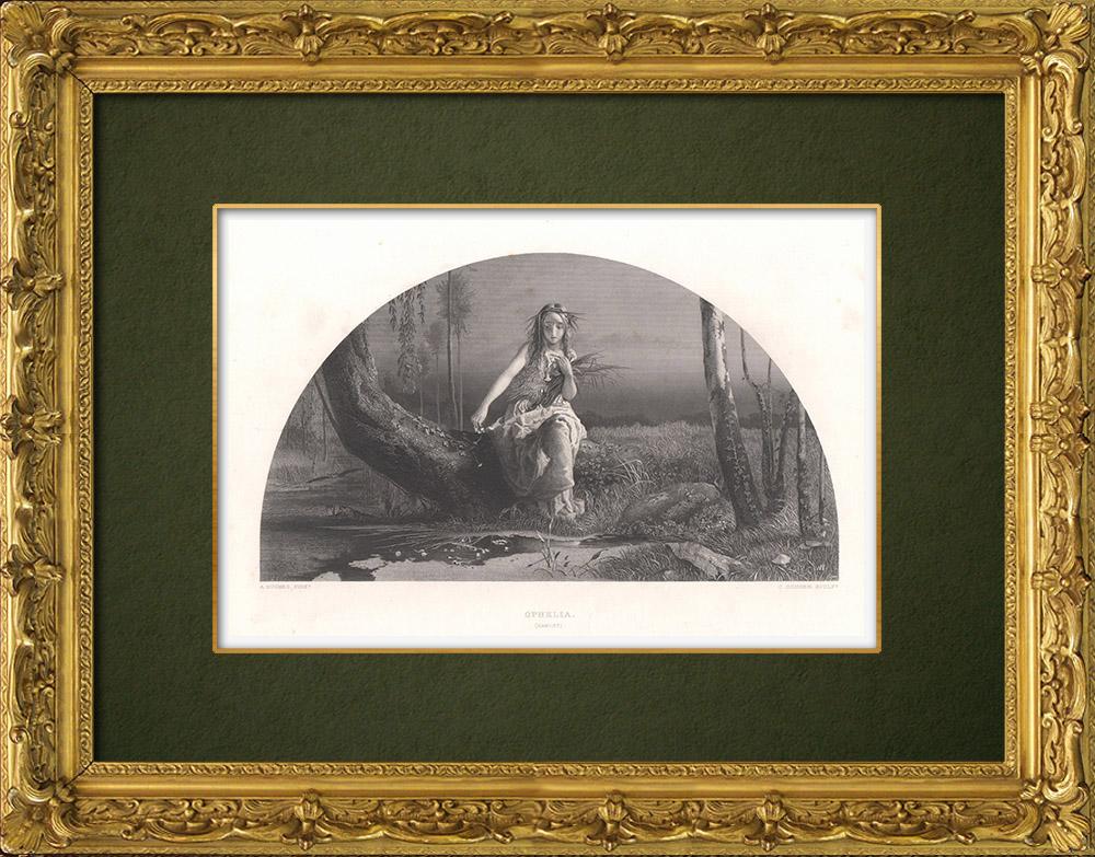 Antique Prints & Drawings | Ophelia - Hamlet (William Shakespeare) | Intaglio print | 1875