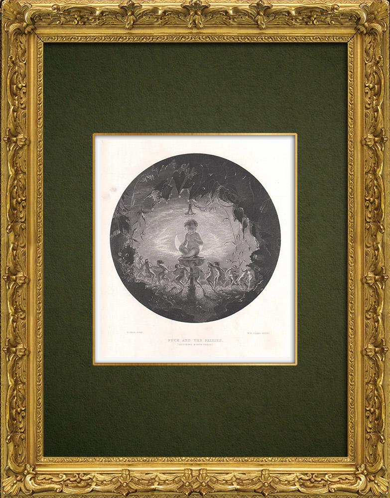 Gravures Anciennes & Dessins | Puck et les Fées - Le Songe d'une nuit d'été (William Shakespeare) | Taille-douce | 1875