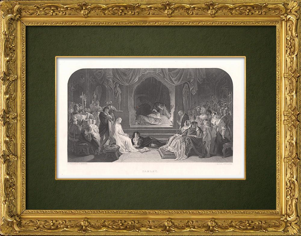 Gravures Anciennes & Dessins | Ophélie - Hamlet (William Shakespeare) | Taille-douce | 1875