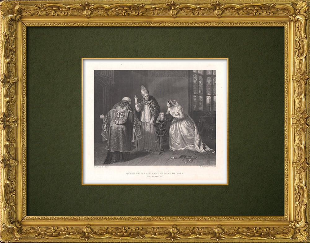 Antique Prints & Drawings | Queen Elizabeth and the Duke of York - Richard III (William Shakespeare) | Intaglio print | 1875