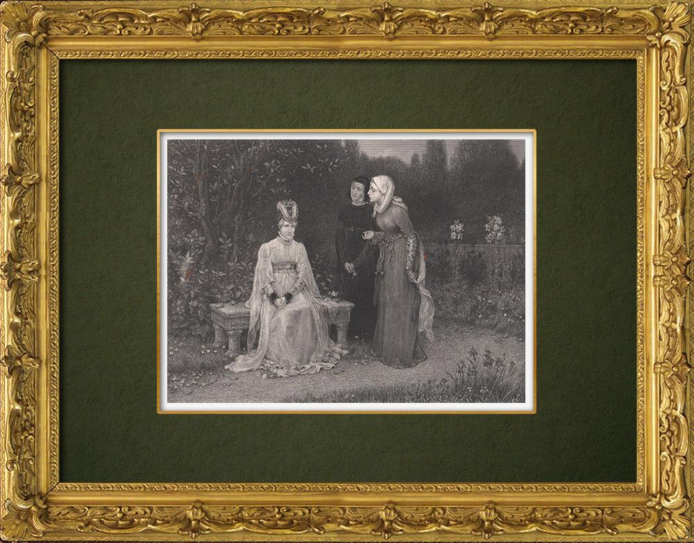 Antique Prints & Drawings | Queen Elizabeth and the Ladies - Richard III (William Shakespeare) | Intaglio print | 1875