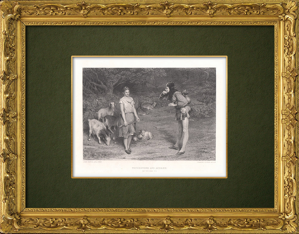 Antique Prints & Drawings | Touchstone and Audrey - As You Like It (William Shakespeare) | Intaglio print | 1875