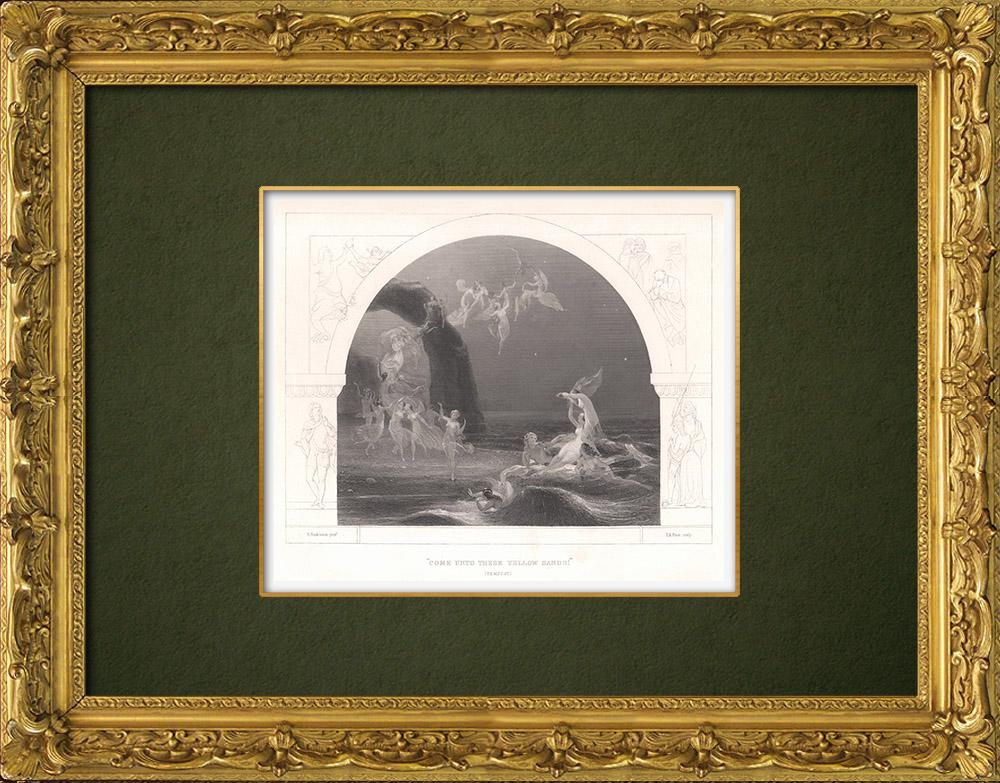Gravures Anciennes & Dessins | La Tempête (William Shakespeare) - Venez dans ces sables jaunes  | Taille-douce | 1875