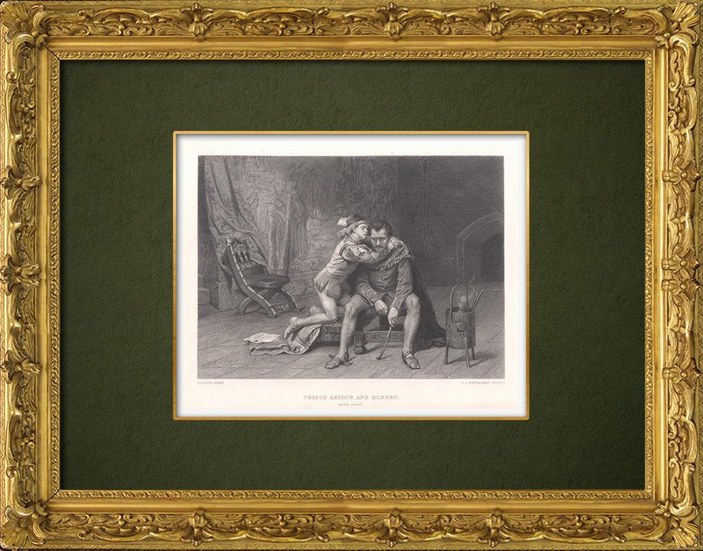 Gravures Anciennes & Dessins   Prince Arthur et Hubert - Le Roi Jean (William Shakespeare)   Taille-douce   1875