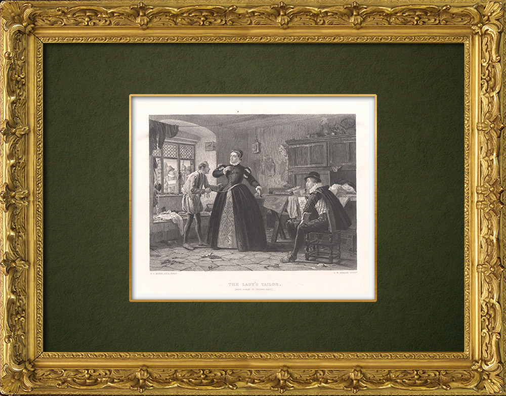 Antique Prints & Drawings | The Lady's tailor - Henry IV, Part 2 (William Shakespeare) | Intaglio print | 1875