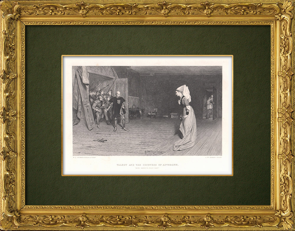 Antique Prints & Drawings | Lord John Talbot and the Countess of Auvergne - Henry VI, Part 1 (William Shakespeare) | Intaglio print | 1875