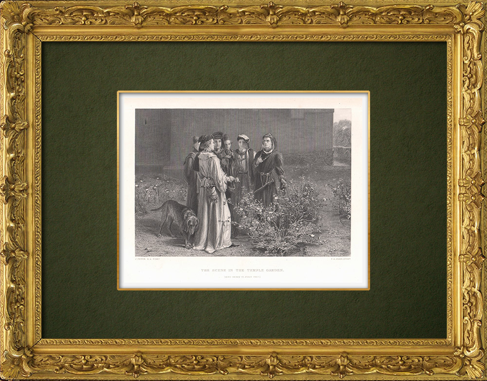 Antique Prints & Drawings   Henry VI and Temple Garden - Henry VI, Part 1 (William Shakespeare)   Intaglio print   1875