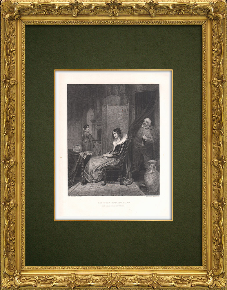 Antique Prints & Drawings   Falstaff and Mrs Ford - The Merry Wives of Windsor (William Shakespeare)   Intaglio print   1875