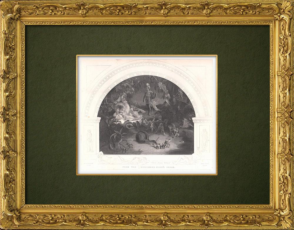 Gravures Anciennes & Dessins   Titania - Le Songe d'une nuit d'été (William Shakespeare)   Taille-douce   1875