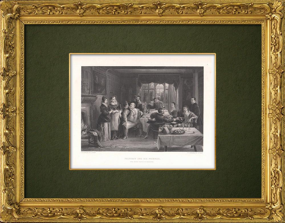 Gravures Anciennes & Dessins | Falstaff et ses amis -  Les Joyeuses Commères de Windsor (William Shakespeare) | Taille-douce | 1875