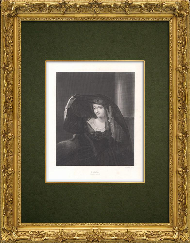 Antique Prints & Drawings | Olivia - Twelfth Night (William Shakespeare) | Intaglio print | 1875