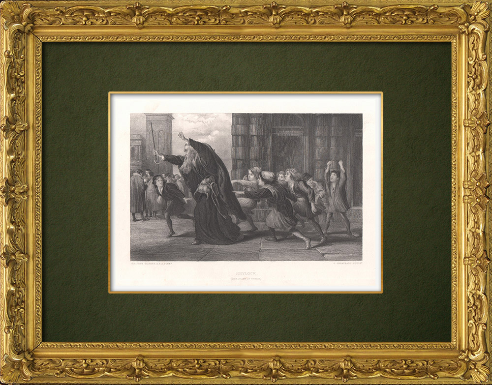 Antique Prints & Drawings   Shylock - The Merchant of Venice (William Shakespeare)   Intaglio print   1875