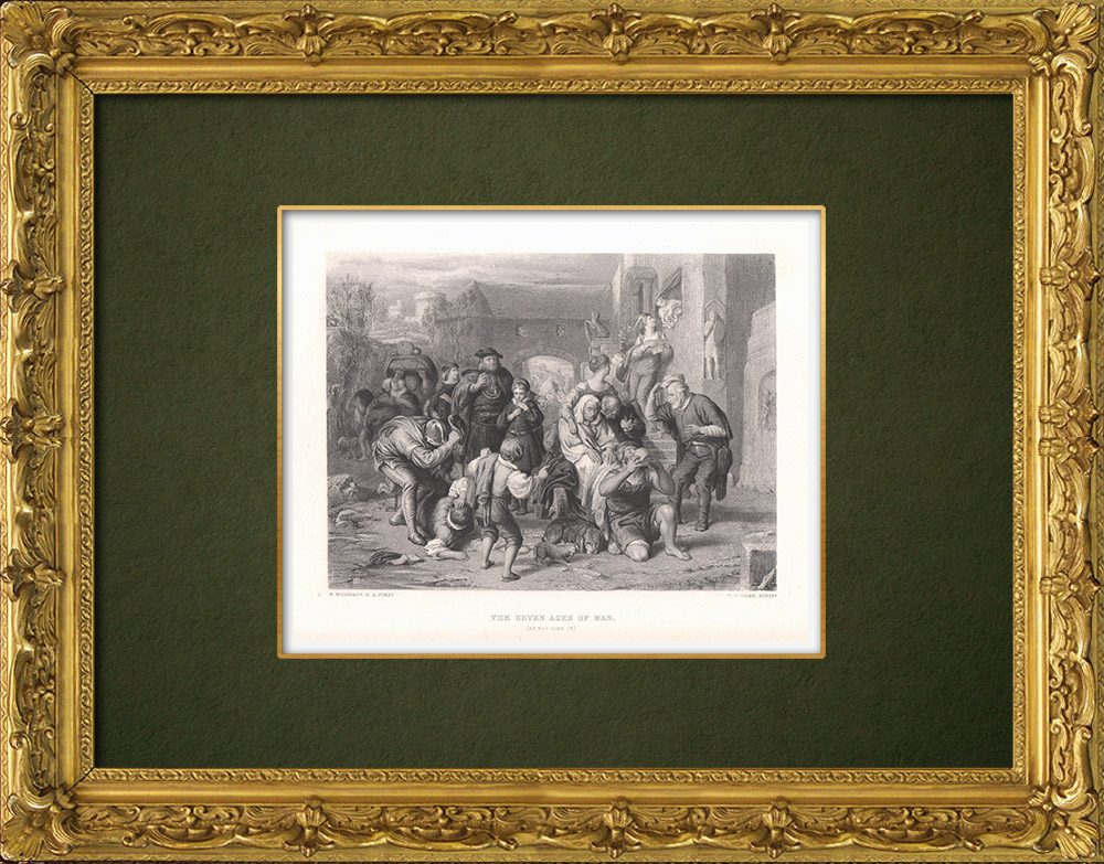 Gravures Anciennes & Dessins | The seven Ages of Man - Comme il vous plaira (William Shakespeare) | Taille-douce | 1875