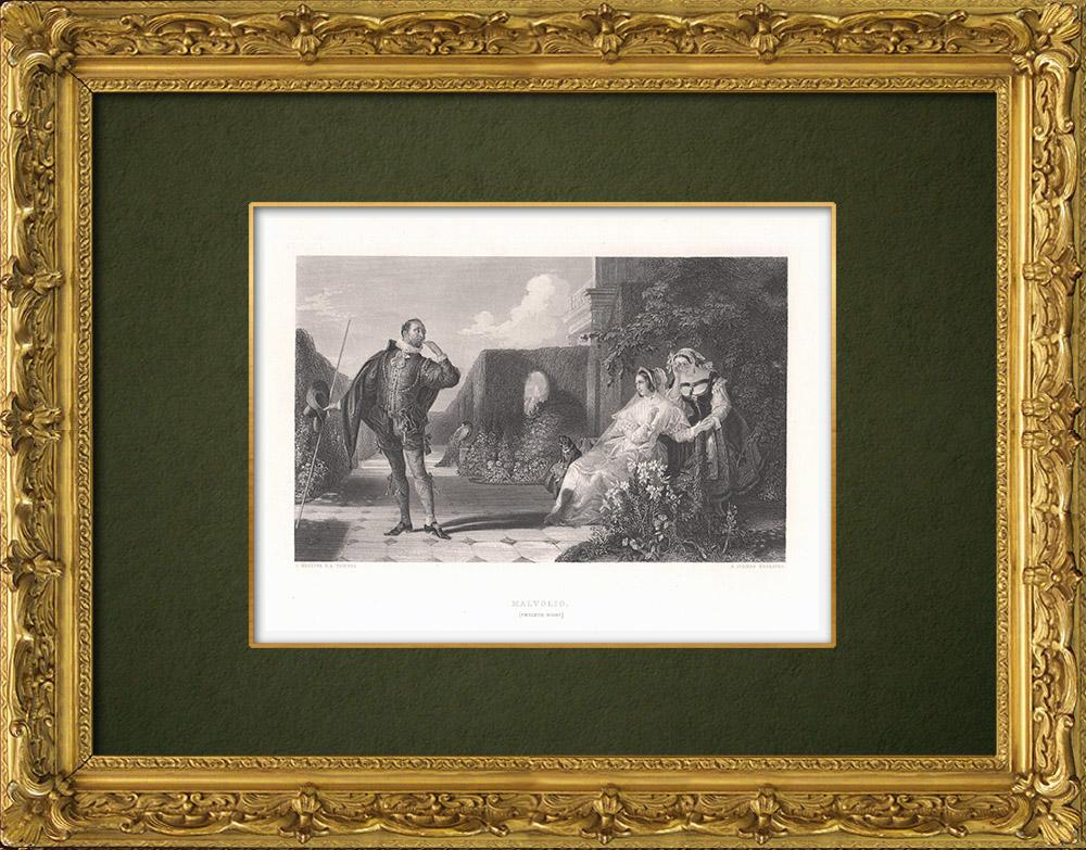 Antique Prints & Drawings | Malvolio - Twelfth Night (William Shakespeare)  | Intaglio print | 1875